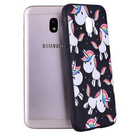 Yunbaozi Funda Samsung Galaxy J3 2017 Carcasa Impresión Unicornio Arcoiris