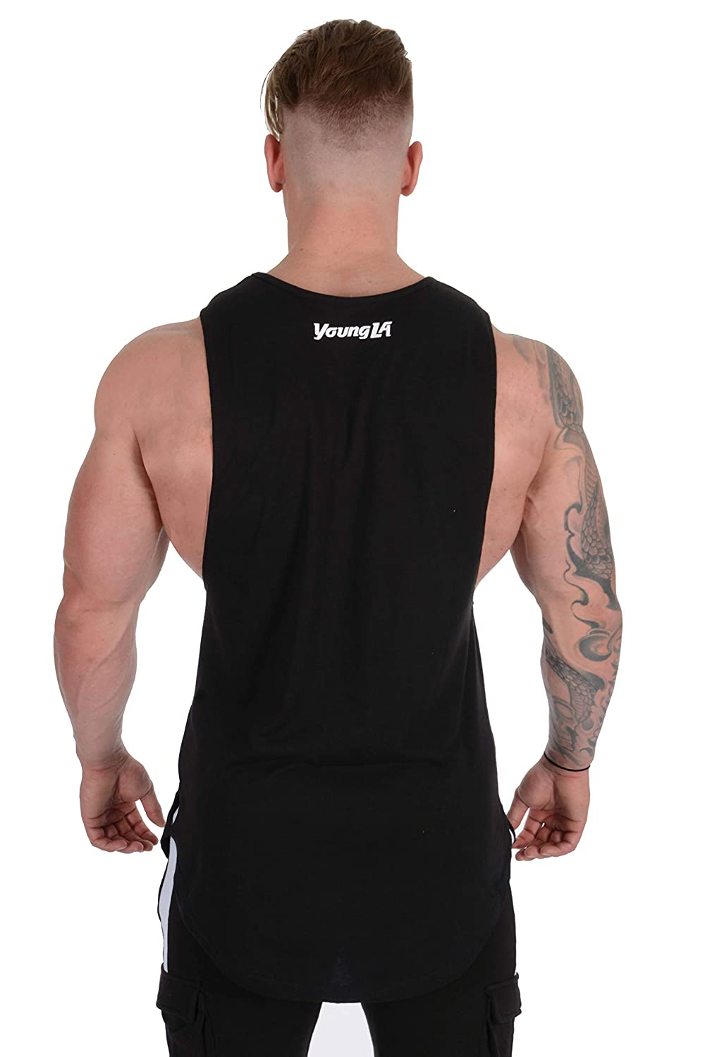 YoungLA Y-Back Racerback Muscle Bodybuilding Stringer Tank Top Acid Washed w//Trendy Raw Edges