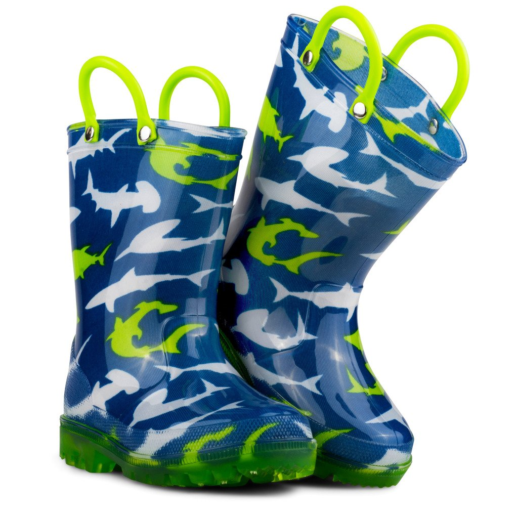 Chillipop Light Up Rainboots for Boys, Girls and Toddlers with Fun Kid Prints with ''5 Lights'' Shark Blue 7 M Toddler by Chillipop (Image #4)