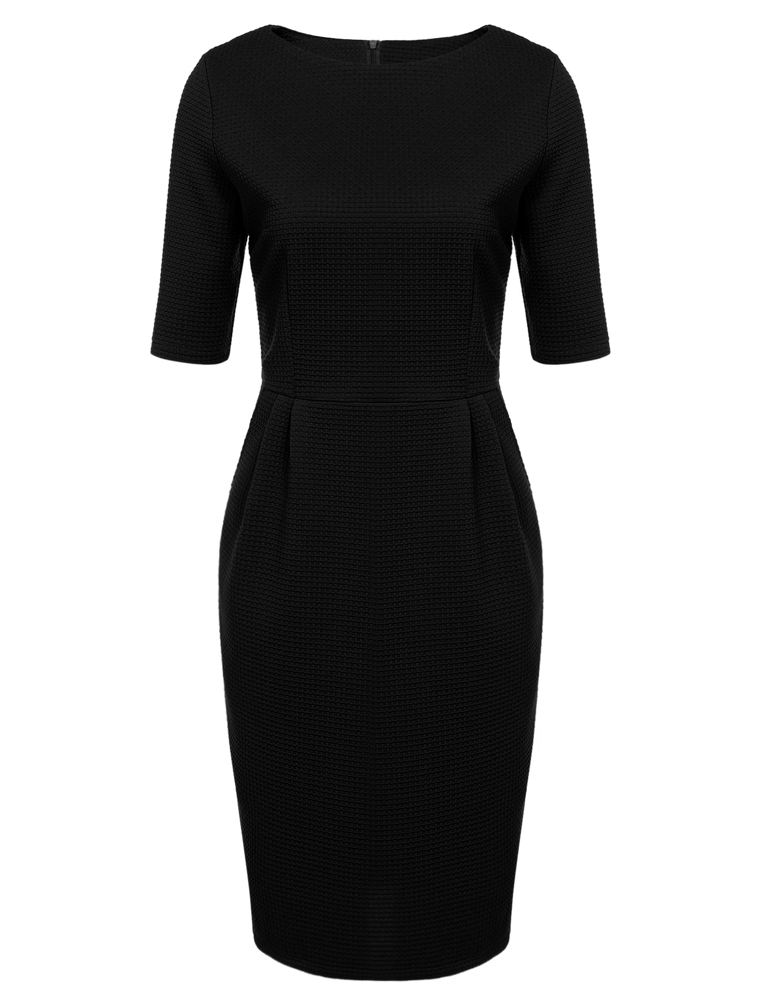 ANGVNS Women Retro 1950s Style Half Sleeve Slim Business Pencil Dress, Black, XL