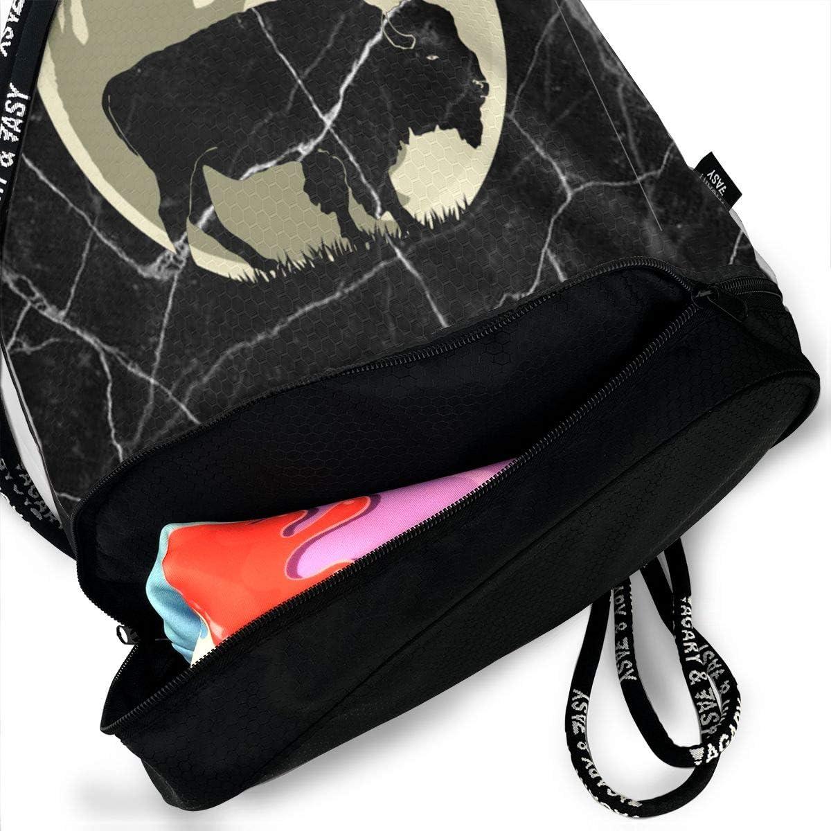 Drawstring Pack Bison Cute Halloween Men /& Women Yoga Dance Travel Shoulder Bags
