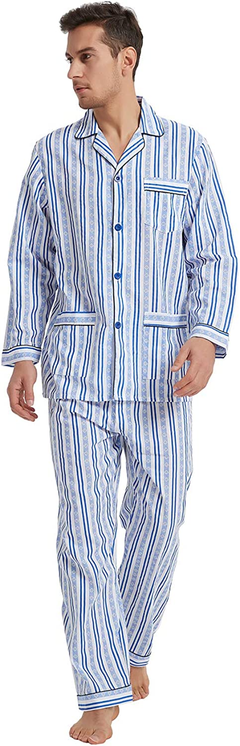1930s Men's Fashion Guide- What Did Men Wear? GLOBAL Mens Pajamas Set 100% Cotton Woven Drawstring Sleepwear Set with Top and Pants/Bottoms $29.99 AT vintagedancer.com