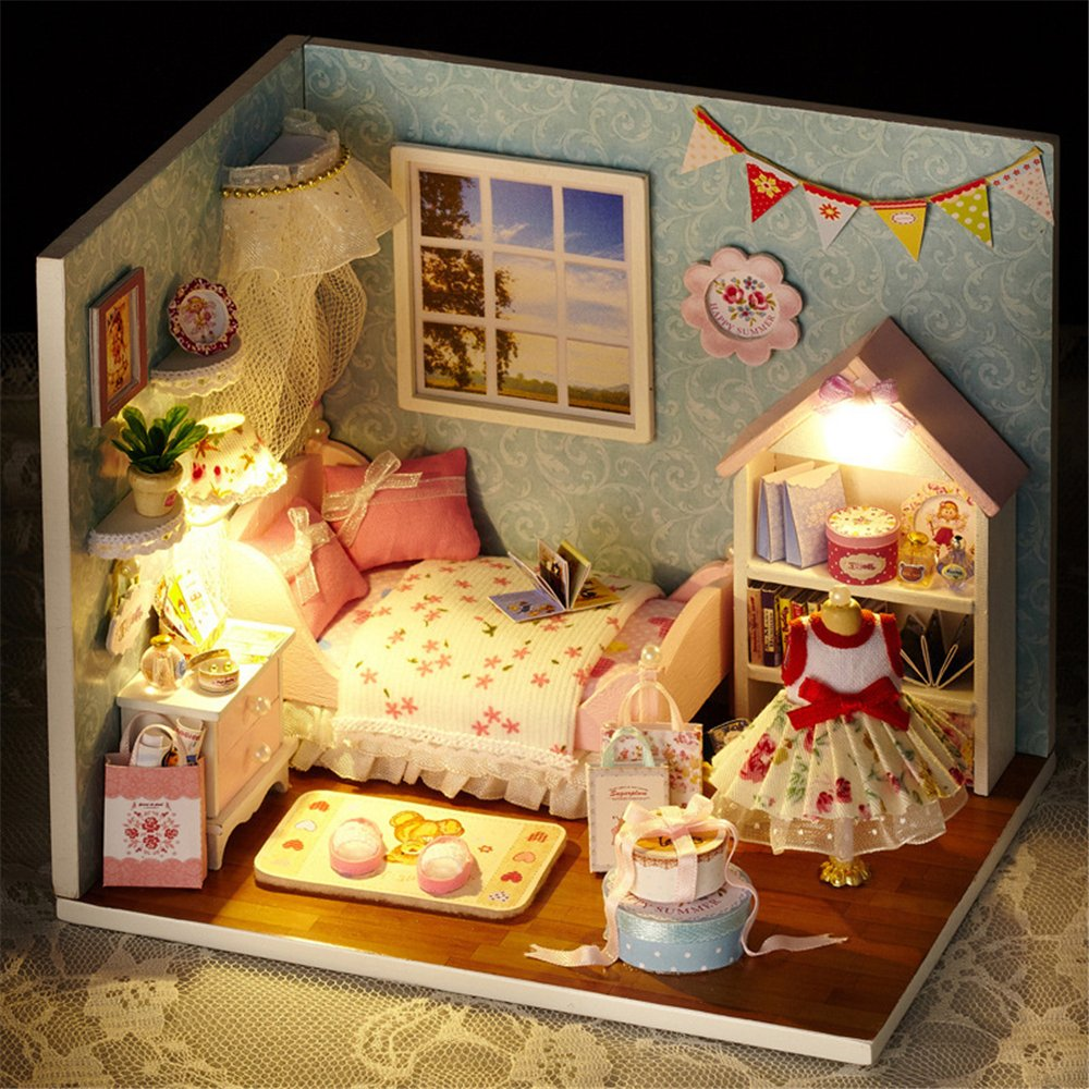Quality Dollhouse Miniature Furniture Bedroom White Room Box Solid Wood W//Lights