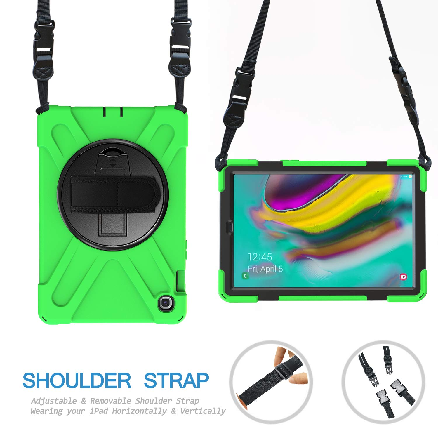 TH000 Case for Samsung Galaxy Tab S5e T720 Shockproof Full Body Heavy Duty Rugged Protective Cover Hand Grip /& Shoulder Neck Strap 10.5 inch SM-T720 725 2019 Kickstand Black