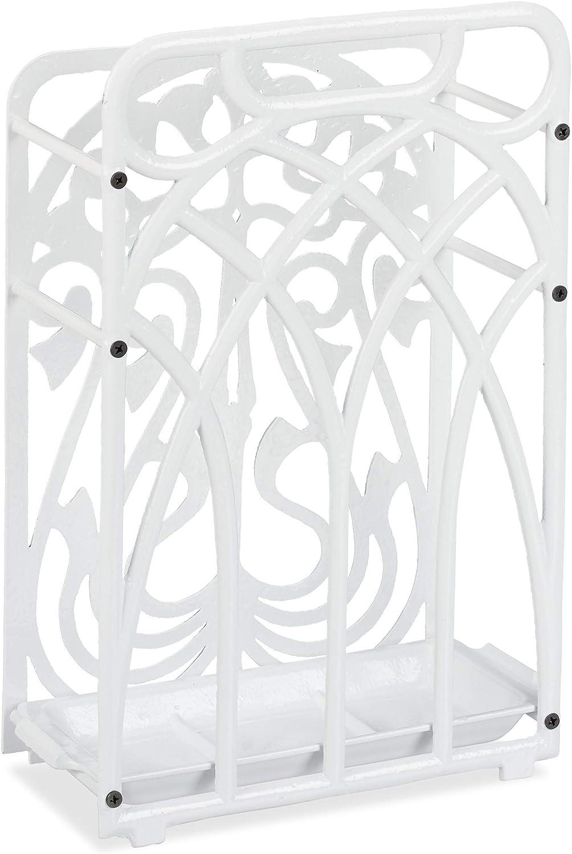 Massive Relaxdays Cast Iron Umbrella Stand with Drip Tray 48.5 x 30.5 x 16 cm White Vintage Rectangular