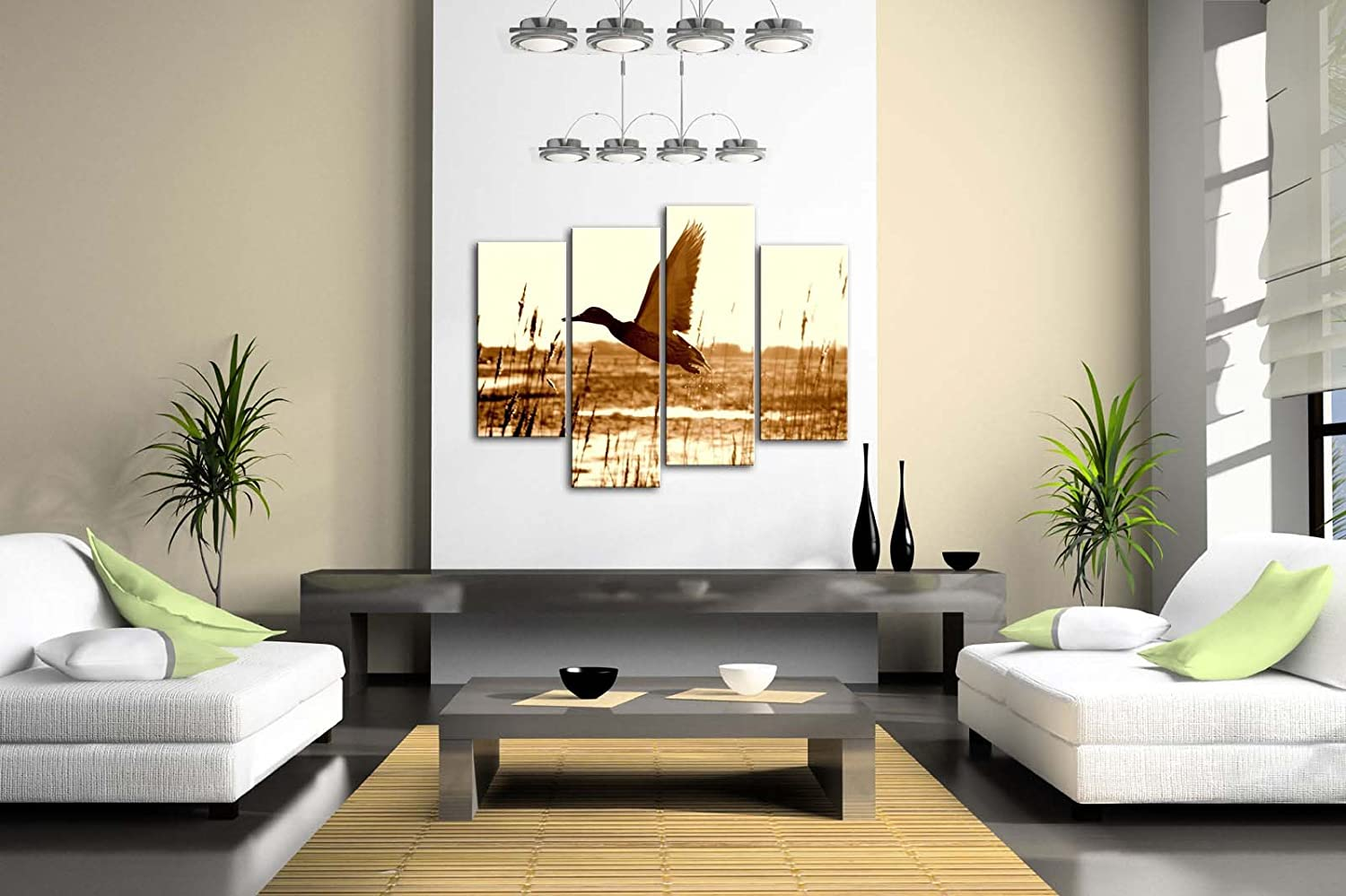 Brown Duck Fly Upon River Wall Art Painting Pictures Print On Canvas Animal The Picture For Home Modern Decoration