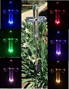 Exquisite Selebrity Set of 2 Acrylic Cross Clear Acrylic Solar Stake Light Garden Decorations Outdoor Yard Art Lawn Ornaments Patio Lights Stick Color Change LED Light