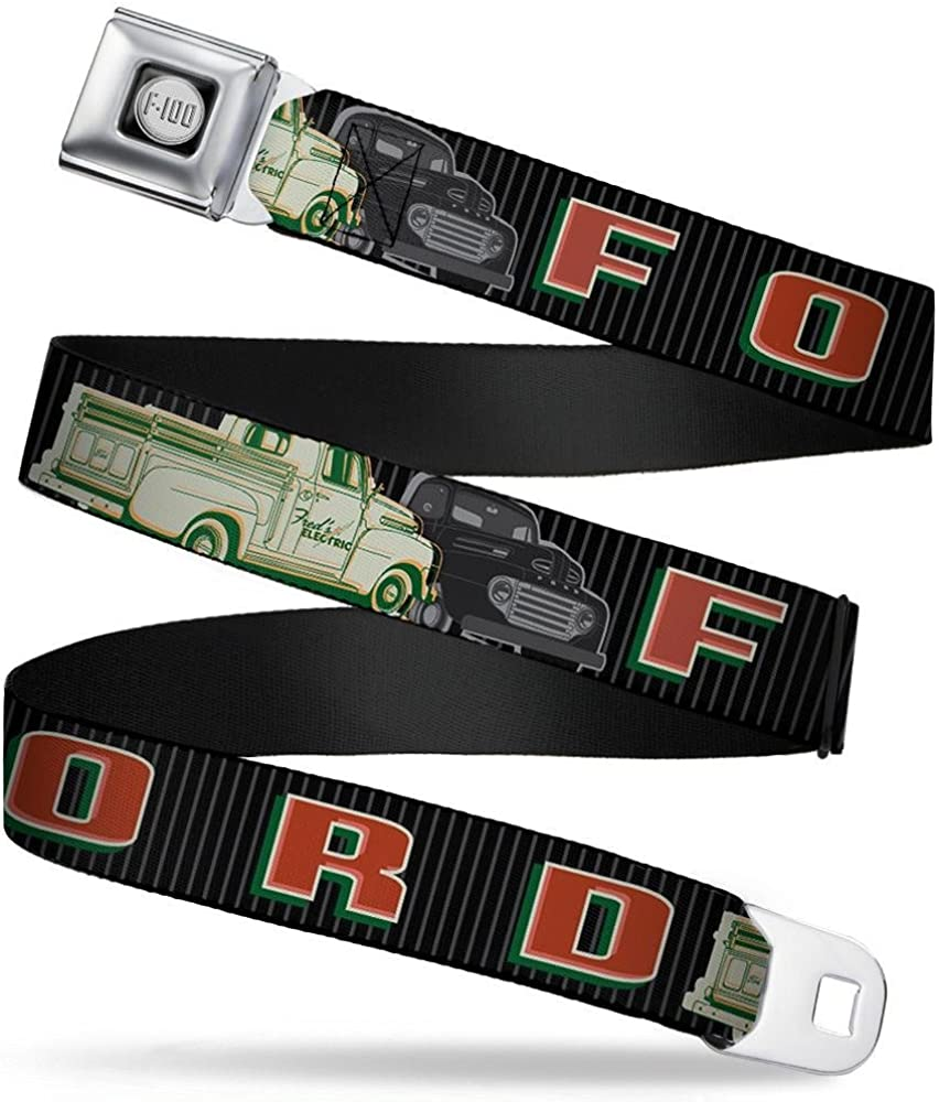 32-52 Inches in Length Buckle-Down Seatbelt Belt 1.5 Wide FORD//Classic Ford Trucks Vertical Stripe Black//Grays//Green//Red