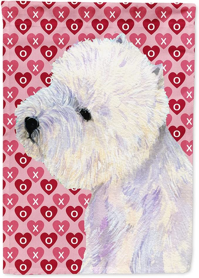 Caroline's Treasures LH9135GF Westie Hearts Love and Valentine's Day Portrait Flag Garden Size, Small, Multicolor