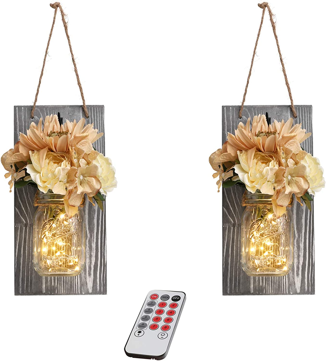 GBtroo Mason Jar Sconces Wall Decor with Remote Farmhouse Sconces Wall Lighting for Home Living Room Kitchen Bedroom Decoration with 6-Hour Timer LED Lights Flowers,Set of 2(Large, Gray)