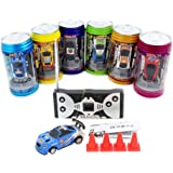 Cans type mini RC car with 4pcs roadblocks,color random,Suitable for the game (49 Hz)