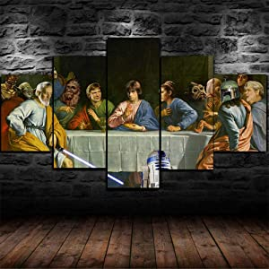 Wars The Last Supper Funny Canvas Wall Art for Living Room Framed Canvas Art Print Poster for Home Decoration-200 X 100 cm Direct Suspension with Frame Suspension Birthday Xmas Gift