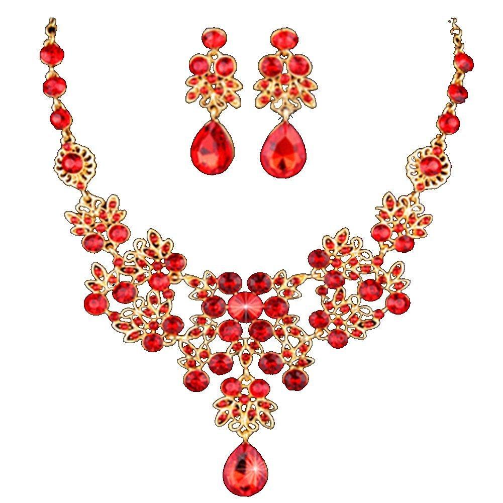Amazon.com: Dxhycc Silver Red Alloy Rhinestone Earrings Crystal ...