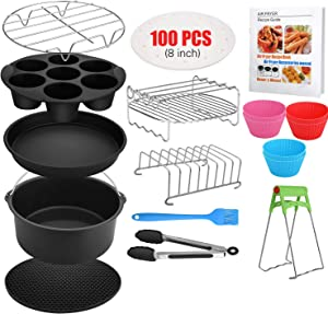 Air Fryer Accessories, 16 Pcs with Recipe Cookbook And Magnetic Cheat Sheet for Gowise Ninja Cosori Cozyna Philips 4.2Qt - 5.8Qt Deep Fryer, Dishwasher Safe 8 Inch XL