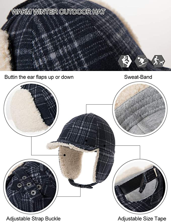Details about  /Hat Child Tab Trapper Cap Keep Warm Plus Velvet Thicken Winter Christmas Gifts