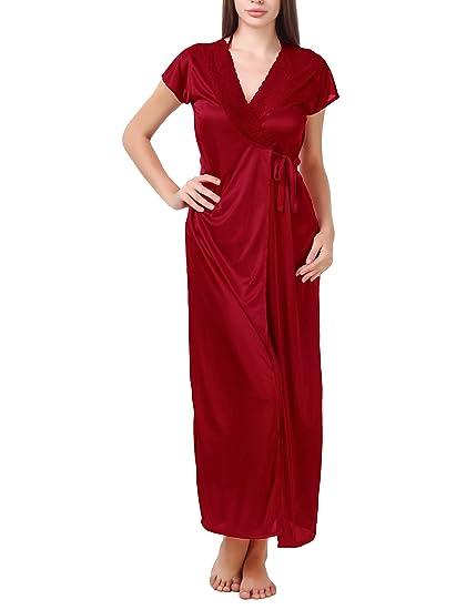 75e5afa064 BOMBSHELL Women s Satin Nightwear Night Dress Nighty Set of 6 Pcs Nighty