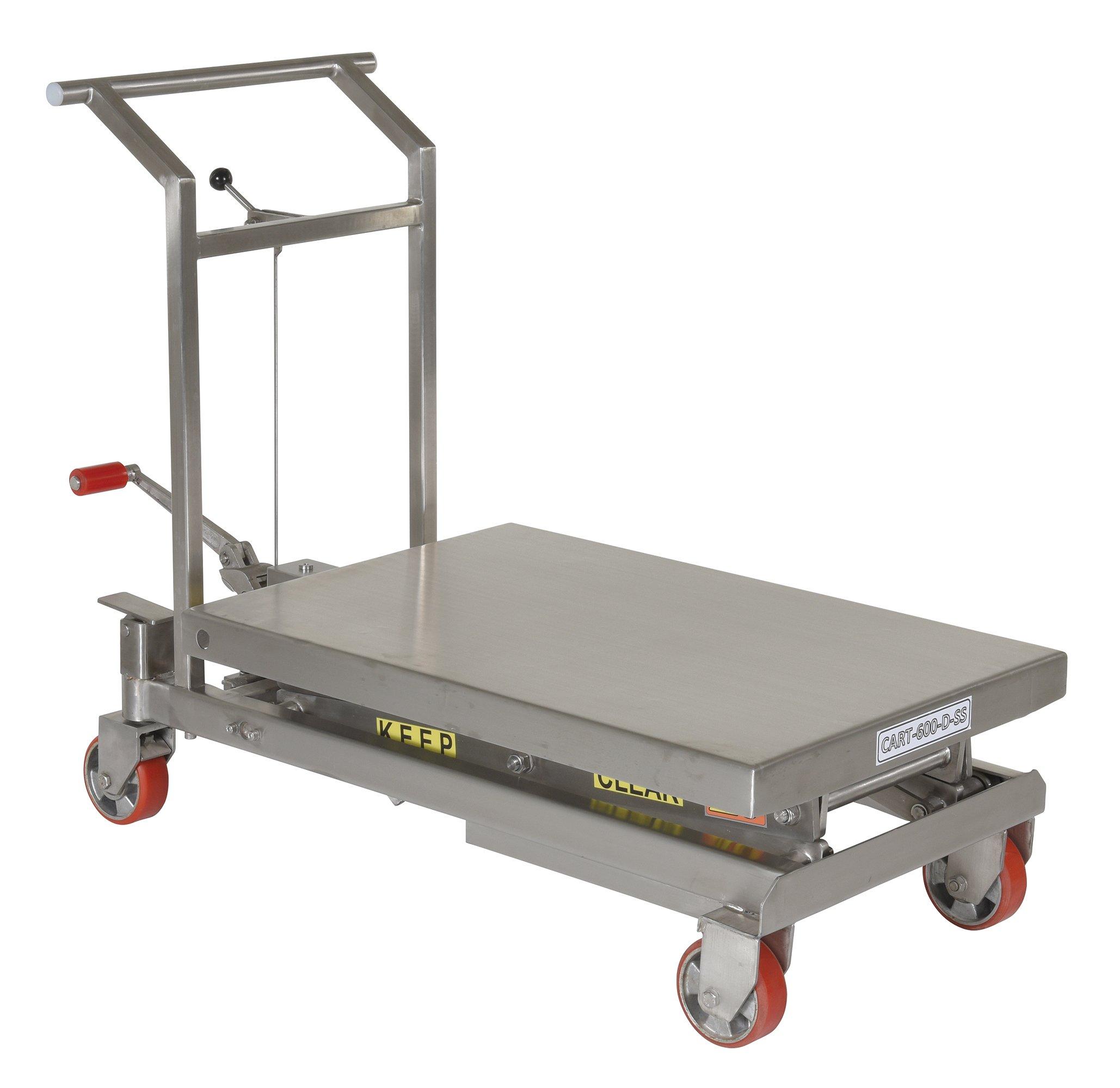 Vestil CART-600-D-SS Stainless Steel Scissor Cart, 600 lb. Capacity