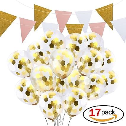 Ballons De Confettis Dor 16 Pièces 305 Cm Ballons De Partie De Latex Bonus Un Guirlande De Fanions Bannière Fait à La Main De 3 M Pour