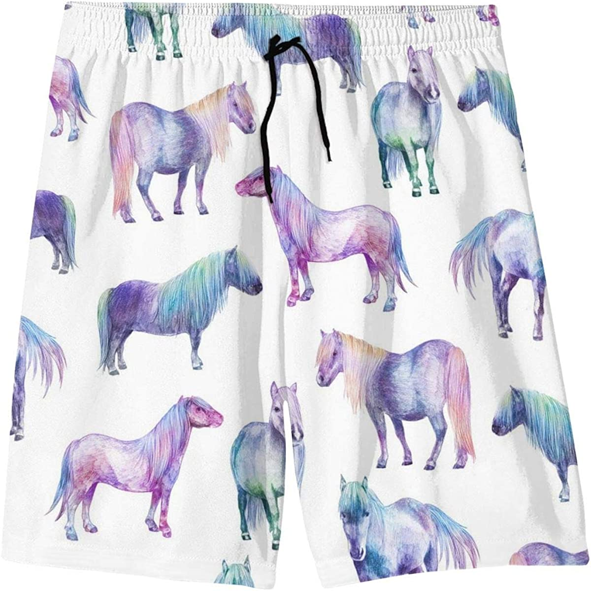 Blue Horse Teenager Boys Beachwear Beach Shorts Pants Board Shorts