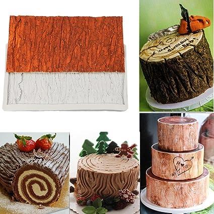 Jaminy - 1 molde de corteza de árbol 3D, para dulces, tartas, gelatina