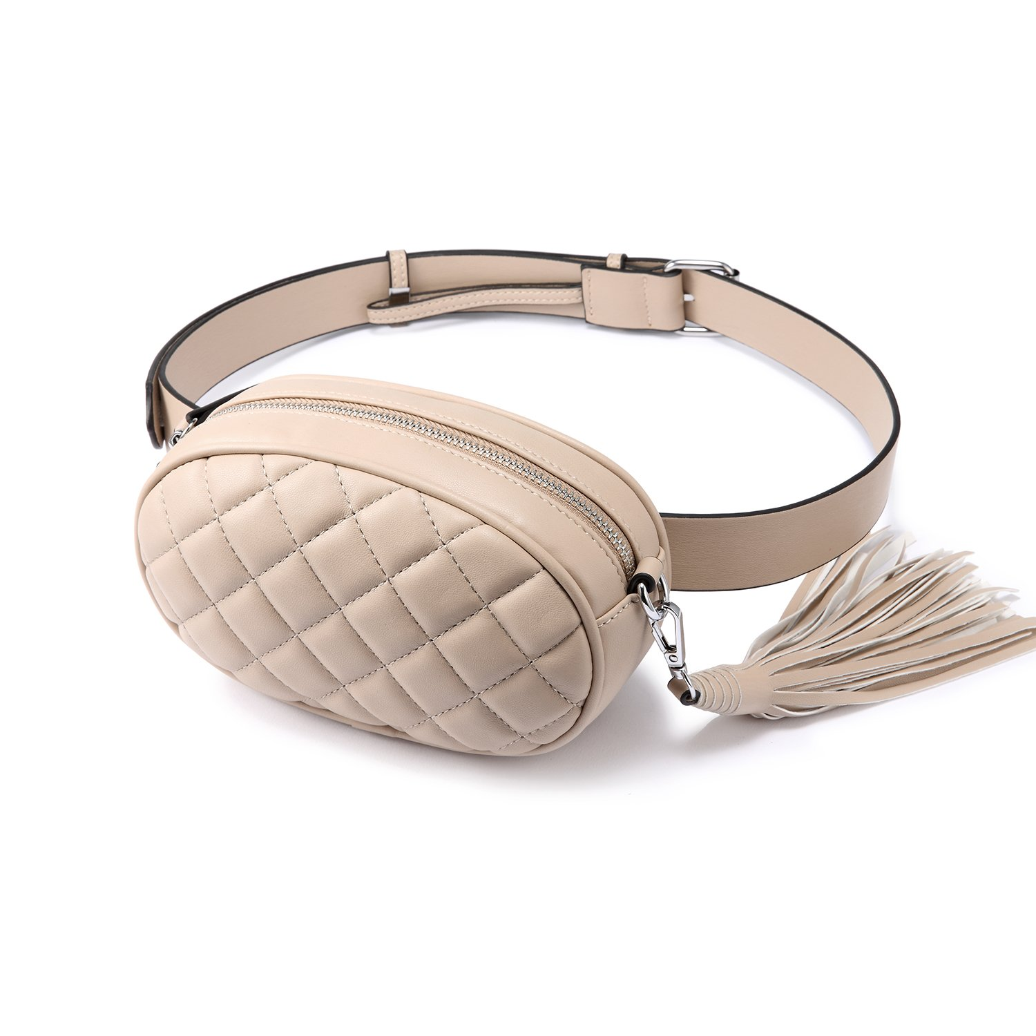 LOVEVOOK Fanny Pack Waist Bag Stylish Travel Cell Phone Bum Bag Beige