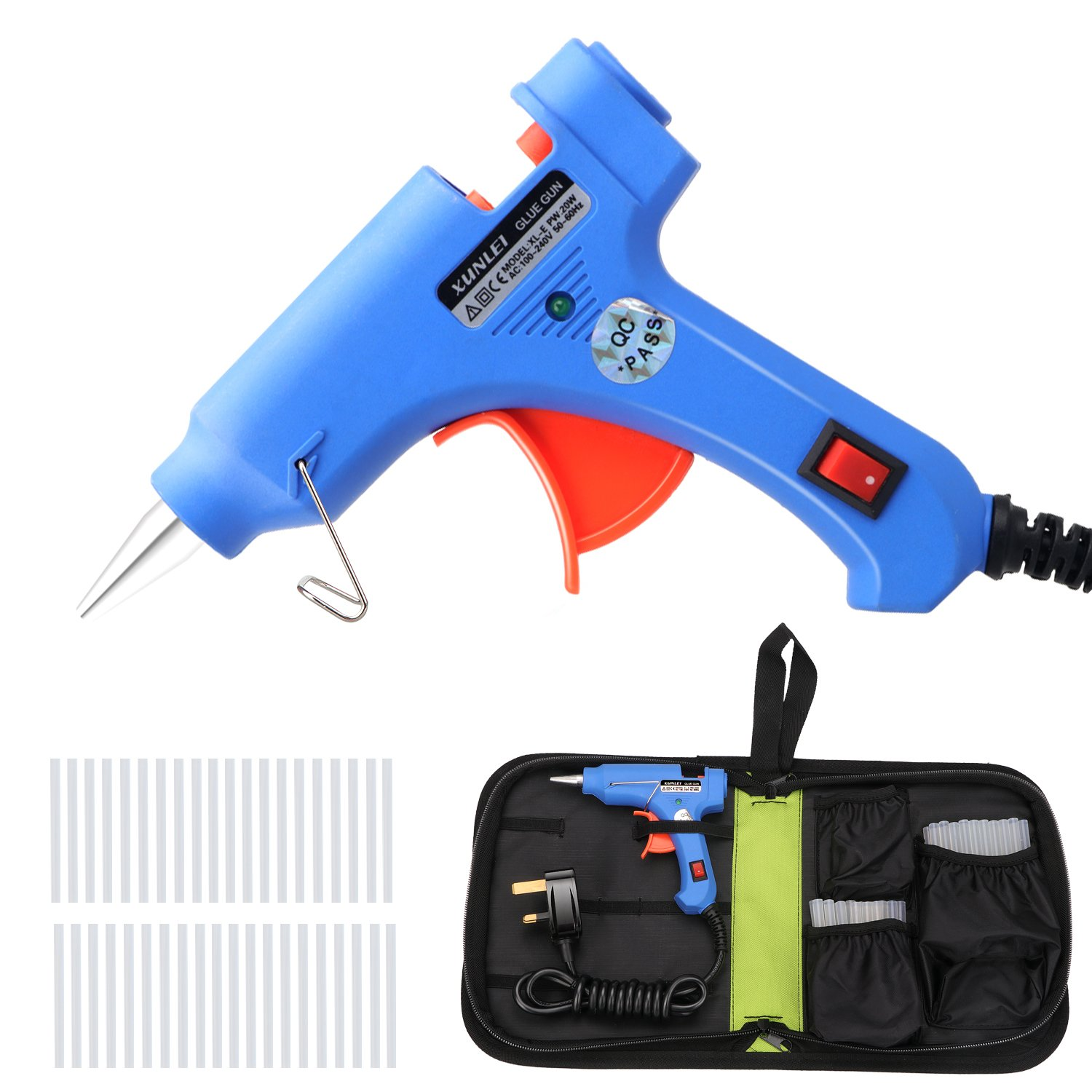 Mini Hot Melt Glue Gun with 40pcs Glue Sticks and Carry Bag