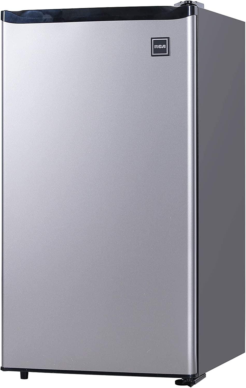 RCA RFR322-B RFR322 3.2 Cu Ft Single Door Mini Fridge with Freezer, Platinum, Stainless