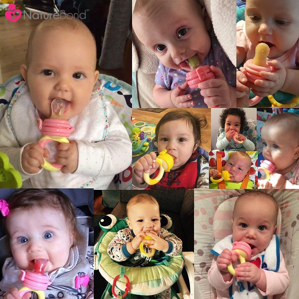NatureBond Fruchtsauger Baby//Schnuller bei/ßring Babynahrung Nahrungsmittelzufuhr 2 St/ück BPA-frei Inklusive Silikon-Nippel alle Gr/ö/ßen - Fruchtsauger Baby//Schnuller in appetitanregenden Farben