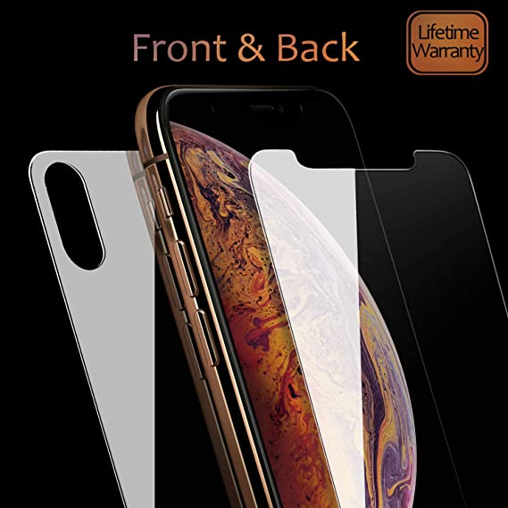 new concept 926f8 729f1 JingooBon Front and Back Screen Protector Compatible with iPhone Xs Max  [2-Pack], Tempered Glass [3D Touch] Front and Rear Anti-Fingerprint/Scratch  ...