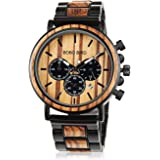 BOBO BIRD Wooden Mens Watches Stylish Wood & Stainless Steel Combined Chronograph Military Quartz Casual Wristwatches