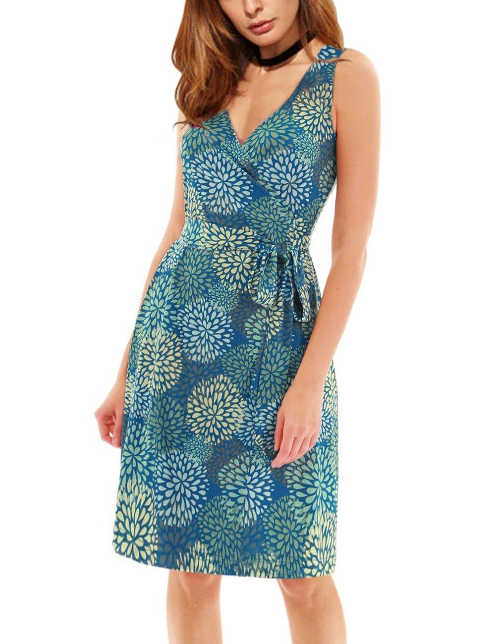 YesFashion Women's Wrap V Neck Sleeveless Print Dress Green M