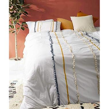 Flber Tasseled Duvet Cover Washed Cotton Boho Bedding King, 96inx104in