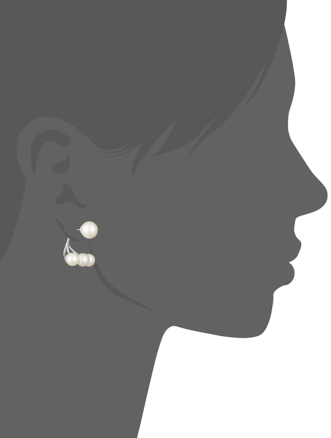 Platinum Plated Sterling Silver Freshwater Cultured Pearl Earring Jackets