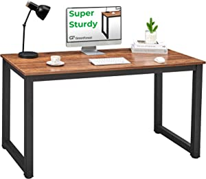 GreenForest 47inch Home Office Desk PC Workstation Writing Study and Gaming Computer Table with Thicker-Legs, Small Modern Simple Dining Table,Easy Assemble Walnut