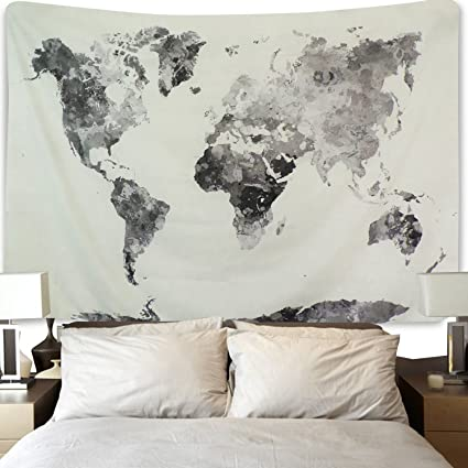Amazon Com Bleum Cade Watercolor World Map Tapestry Abstract