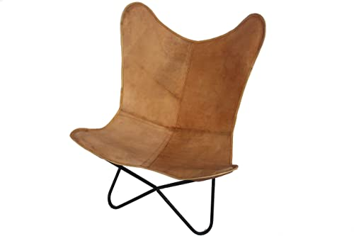 Vintage Handmade Tan Leather Arm Chair Cover Leather Butterfly Chair Home Decor – Cover Only
