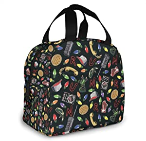 Stranger Things Black Lunch Bag for Men Women Insulated Lunch Box with Front Pocket for Work Reusable Cooler Tote Bag for Office School Picnic Hiking Beach