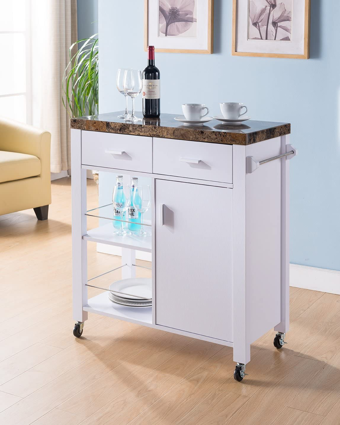 Forward Home Collection Mobile Kitchen cart with Faux Marble Top