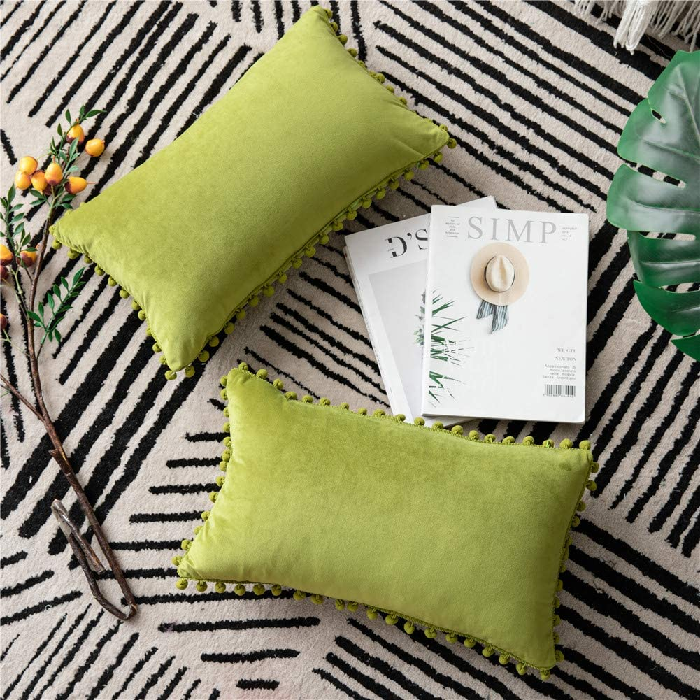 DEZENE Couch Pillow Cases 12x20 Chartreuse: 2 Pack Cozy Soft Pom-poms Velvet Rectangular Throw Pillow Covers for Farmhouse Home Decor