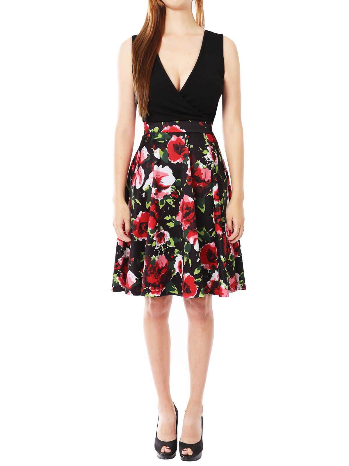 JayJay Women Vintage Casual Flower Print Stretchy Sleeveless Midi Wrap Dress,Red,M