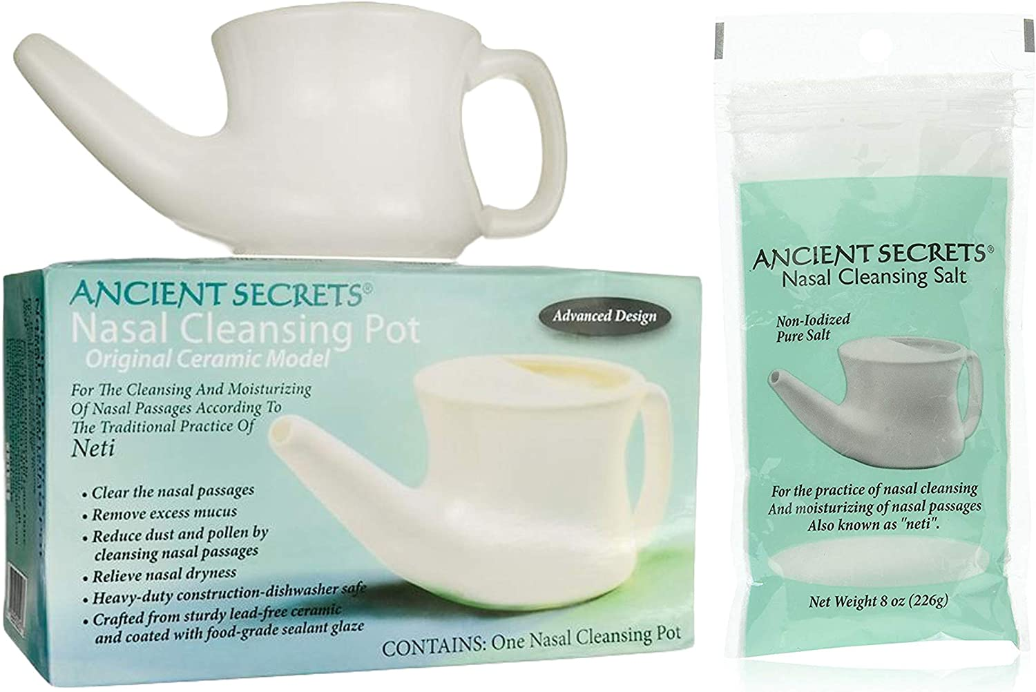 Ancient Secrets Nasal Cleansing Ceramic Neti Pot with Nasal Cleansing Non-Iodized Pure Real Salt Packet 8oz (226g) — for Traditional Sinus Rinse and Nasal Irrigation