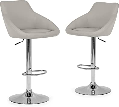 Amazon Com Glamour Home Décor Set Of 2 Alani Ashy Grey Adjustable Height Swivel Barstool In Faux Leather Furniture Decor