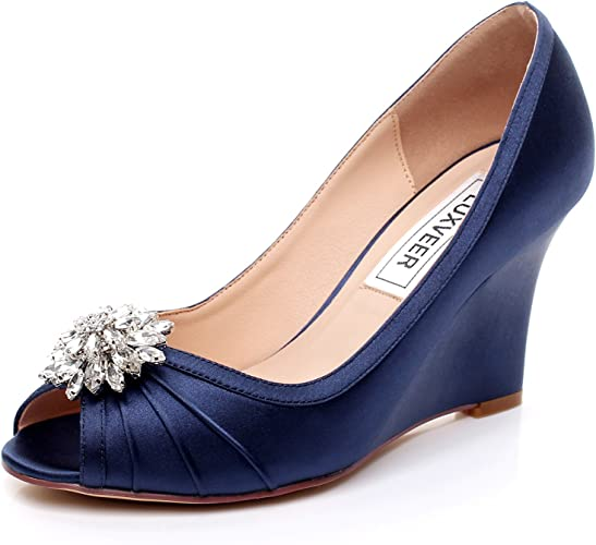 Silver Rhinestone Brooch,Medium Heels