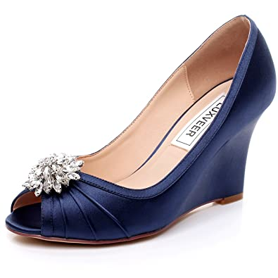 2bdc9640301 LUXVEER Dark Blue Wedding Shoes Wedges with Silver Rhinestone Brooch