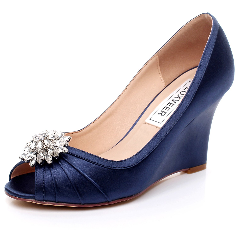 LUXVEER Dark Blue Wedding Wedges with Silver Rhinestone Brooch ,Medium Heels Wedge 3.5 inch-EU42
