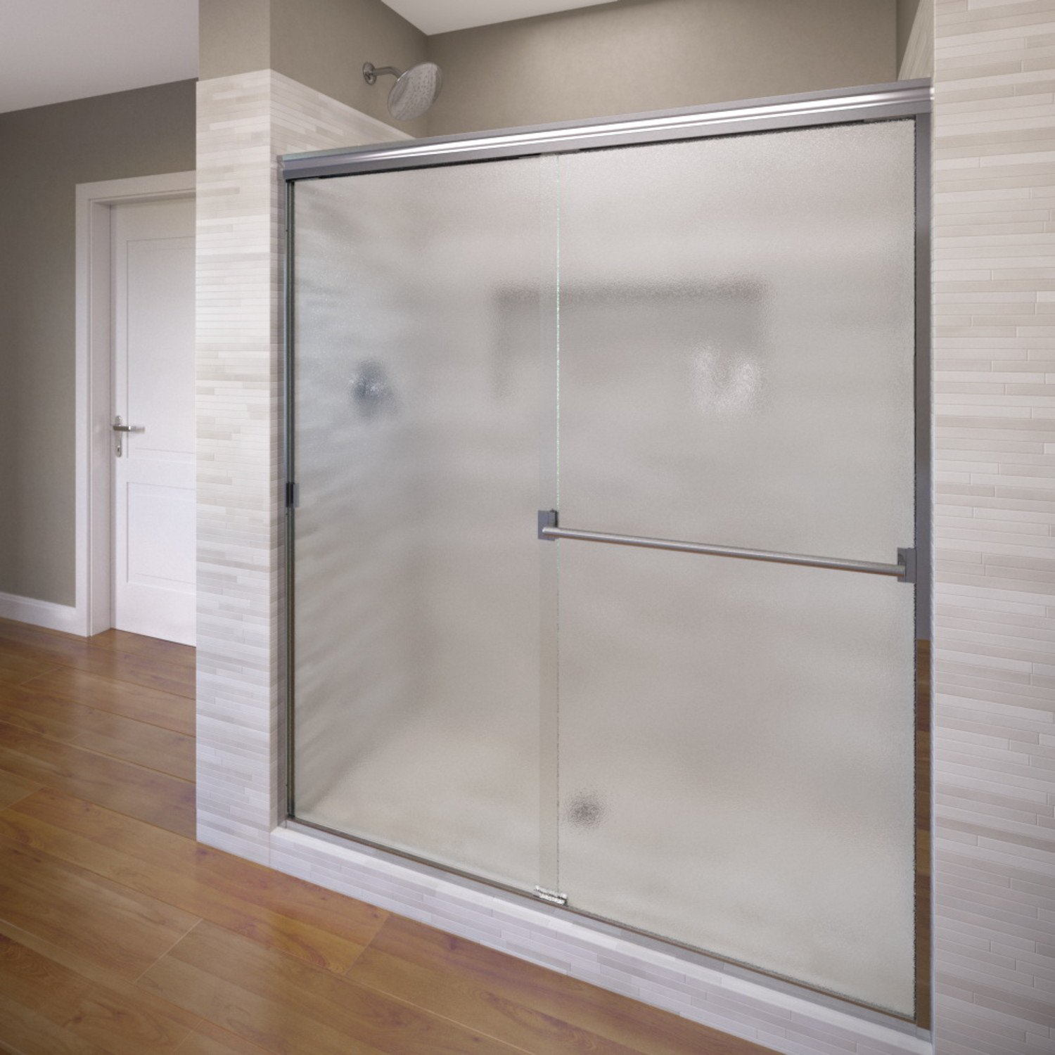 Basco Classic Sliding Shower Door, Fits 40-44 inch opening, Obscure Glass, Silver Finish