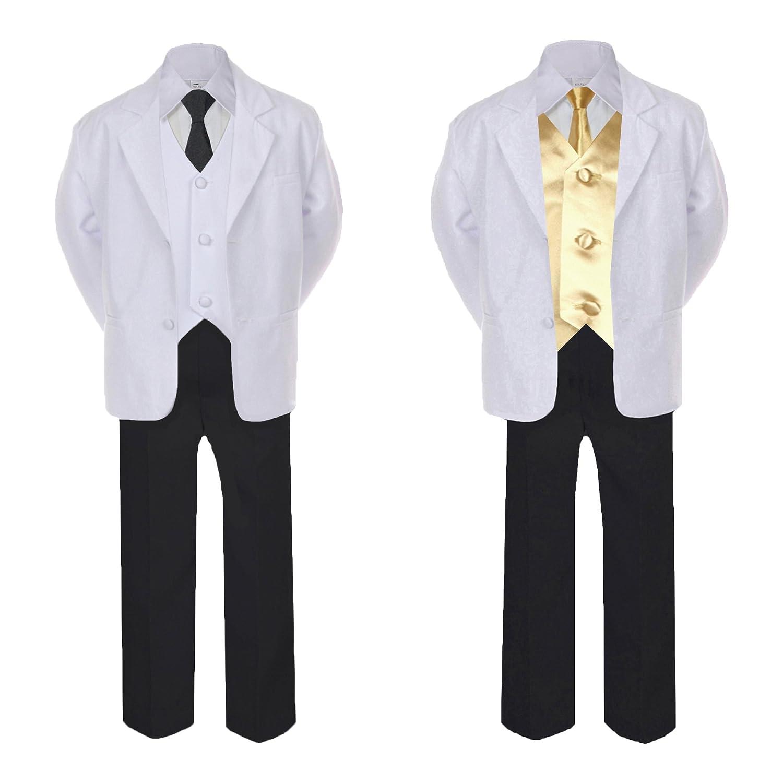 Unotux 5-7pc Formal Black White Suit Set Mustard Bow Long Tie Vest Boy Baby Sm-20 Teen