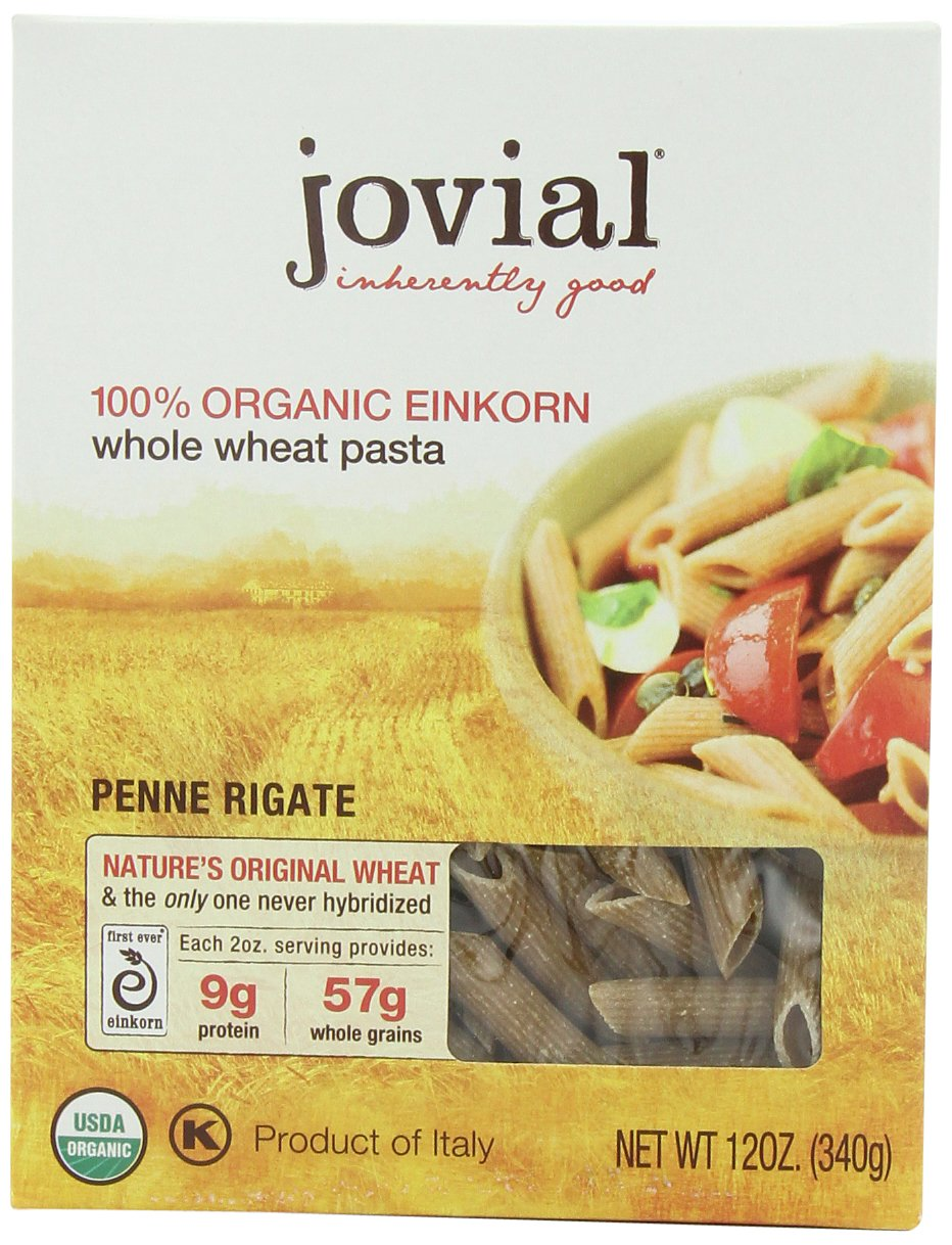 Jovial Organic Whole Grain Einkorn Penne Rigate, 12-Ounce Packages (Pack of 6)