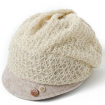 Sombrero de los dientes del otoño y de invierno gorros bordados Sombrero del pintor de las boinas de la mujer gorras de camionero (Color : Blanco) : ...