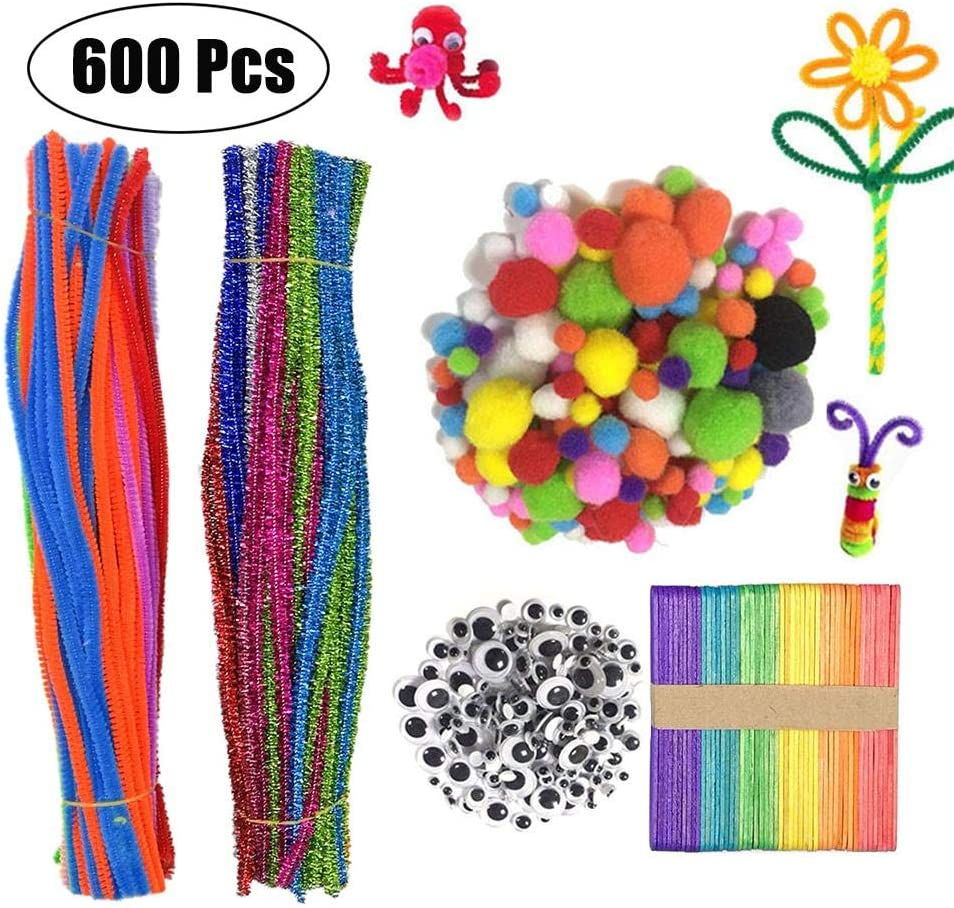 LAMEIDA Pipe Cleaners Craft Set Chenille Stems Pom Poms Wiggle Googly Eyes Colorful Ice Cream Sticks Bend Sticky Glitter Pipe Cleaners for Crafting Kids DIY Art Supplies